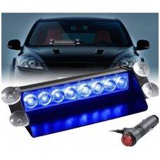 Įspėjamasis LED BAR mėlynas švyturėlis tvirtinamas prie stiklo