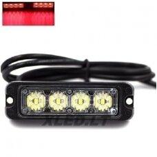 Įspėjamasis MINI galingas 4 LED švyturėlis - raudona 12V-24V