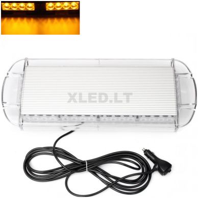 Įspėjamasis galingas LED oranžinis švyturėlis 12V-24V 54 cm