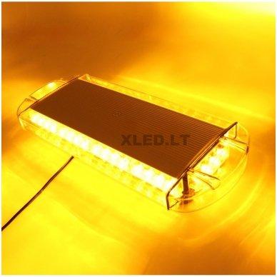 Įspėjamasis galingas LED oranžinis švyturėlis 12V-24V 54 cm 8