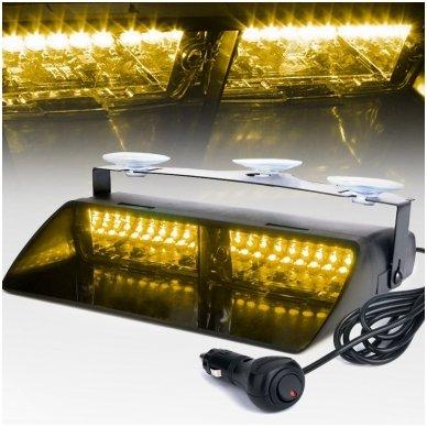 Įspėjamasis galingas LED švyturėlis geltonas tvirtinamas prie stiklo