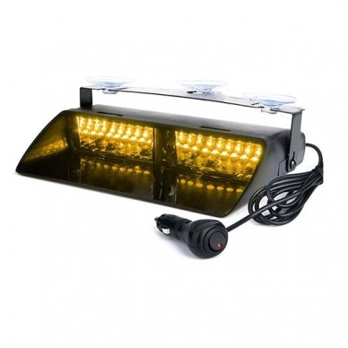 Įspėjamasis galingas LED švyturėlis geltonas tvirtinamas prie stiklo 2