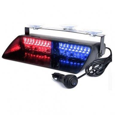 Įspėjamasis galingas LED švyturėlis raudonas - mėlynas tvirtinamas prie stiklo 2