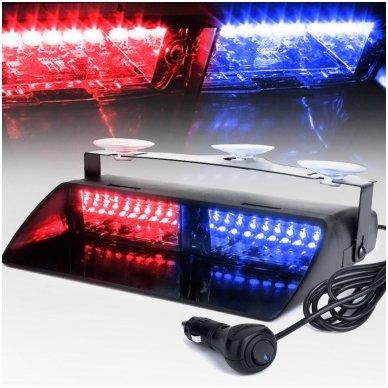 Įspėjamasis galingas LED švyturėlis raudonas - mėlynas tvirtinamas prie stiklo