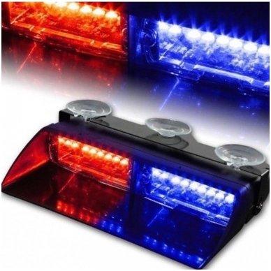 Įspėjamasis galingas LED švyturėlis raudonas - mėlynas tvirtinamas prie stiklo 13