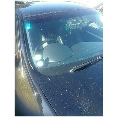 Įspėjamasis galingas LED švyturėlis raudonas - mėlynas tvirtinamas prie stiklo 12