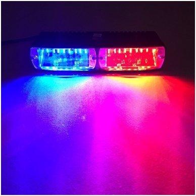 Įspėjamasis galingas LED švyturėlis raudonas - mėlynas tvirtinamas prie stiklo 11