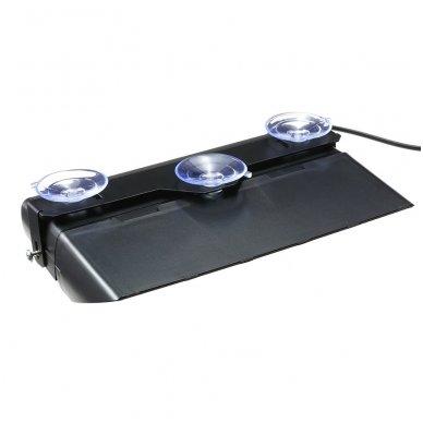 Įspėjamasis galingas LED švyturėlis raudonas - mėlynas tvirtinamas prie stiklo 9