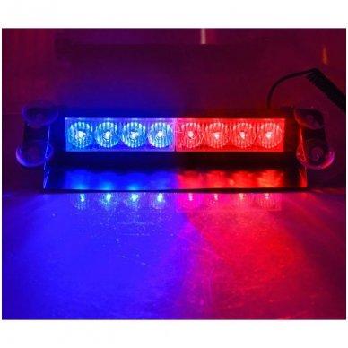 Įspėjamasis LED BAR raudonas - mėlynas švyturėlis tvirtinamas prie stiklo 4