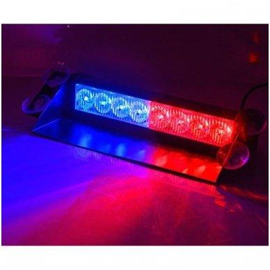 Įspėjamasis LED BAR raudonas - mėlynas švyturėlis tvirtinamas prie stiklo 5