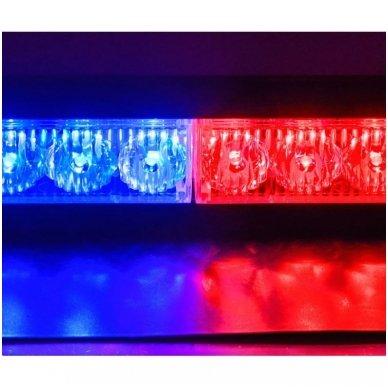 Įspėjamasis LED BAR raudonas - mėlynas švyturėlis tvirtinamas prie stiklo 6