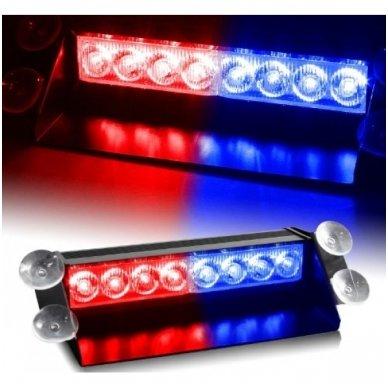 Įspėjamasis LED BAR raudonas - mėlynas švyturėlis tvirtinamas prie stiklo 2