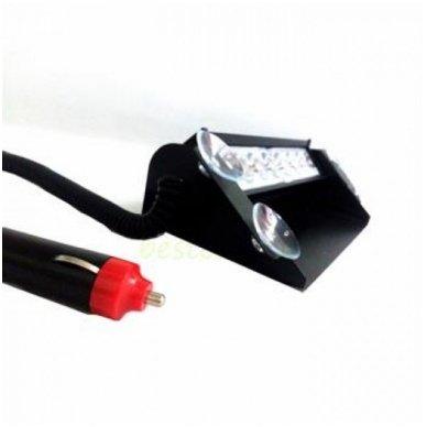 Įspėjamasis LED BAR raudonas - mėlynas švyturėlis tvirtinamas prie stiklo 10