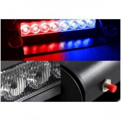 Įspėjamasis LED BAR raudonas - mėlynas švyturėlis tvirtinamas prie stiklo 7