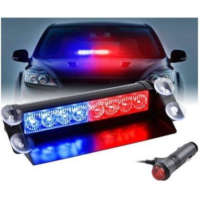 Įspėjamasis LED BAR raudonas - mėlynas švyturėlis tvirtinamas prie stiklo