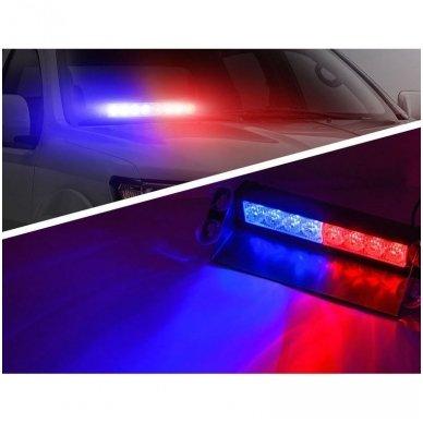 Įspėjamasis LED BAR raudonas - mėlynas švyturėlis tvirtinamas prie stiklo 3