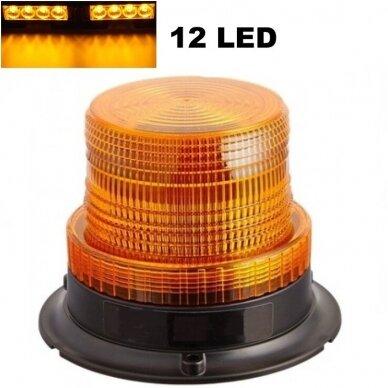 Sertifikuotas įspėjamasis 12 LED SMD oranžinis švyturėlis su magnetiniu padu