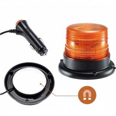 Sertifikuotas įspėjamasis 12 LED SMD oranžinis švyturėlis su magnetiniu padu 5