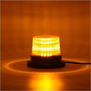 Sertifikuotas įspėjamasis 12 LED SMD oranžinis švyturėlis su magnetiniu padu 7