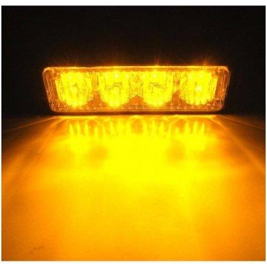 Įspėjamasis MINI galingas 4 LED švyturėlis - geltonas 12V-24V 5