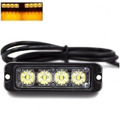 Įspėjamasis MINI galingas 4 LED švyturėlis - geltonas 12V-24V