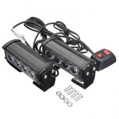 Įspėjamieji 2 LED žibintai lęšiniai švyturėliai geltoni 12V 3