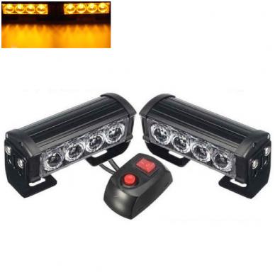 Įspėjamieji 2 LED žibintai lęšiniai švyturėliai geltoni 24V