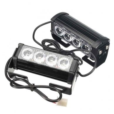 Įspėjamieji 2 LED žibintai lęšiniai švyturėliai geltoni 24V 4