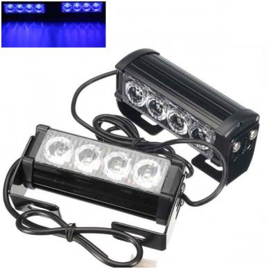 Įspėjamieji 2 LED žibintai lęšiniai švyturėliai mėlyni