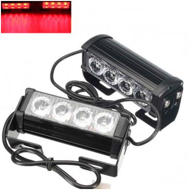 Įspėjamieji 2 LED žibintai lęšiniai švyturėliai raudona