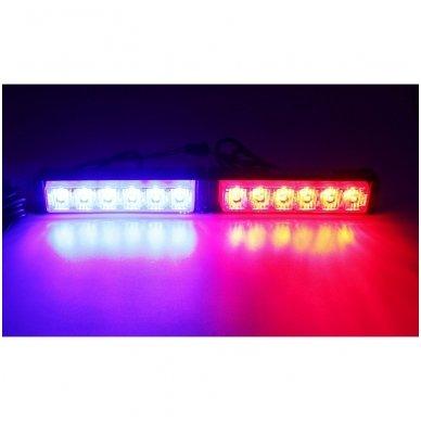 Įspėjamieji 2 LED žibintai lęšiniai švyturėliai raudona - mėlyna 2