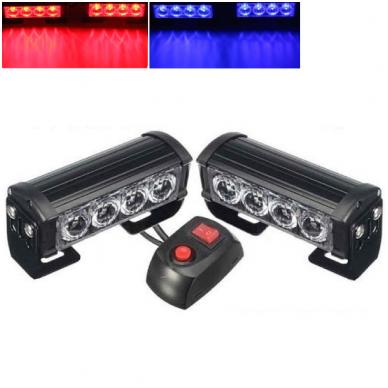 Įspėjamieji 2 LED žibintai lęšiniai švyturėliai raudona - mėlyna