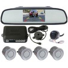 """Kameros ir LCD monitoriaus veidrodėlyje parkavimo sistema 4-ių pilkos spalvos jutiklių """"EAGLE"""", garsinis Bi-Bii signalas"""