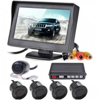 """Kameros ir LCD monitoriaus parkavimosi sistema 4-ių juodų jutiklių """"EAGLE"""", garsinis Bi-Bii signalas"""