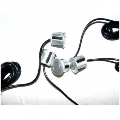 """Kameros ir LCD monitoriaus parkavimosi sistema 4-ių pilkų jutiklių """"EAGLE"""", garsinis Bi-Bii signalas 6"""