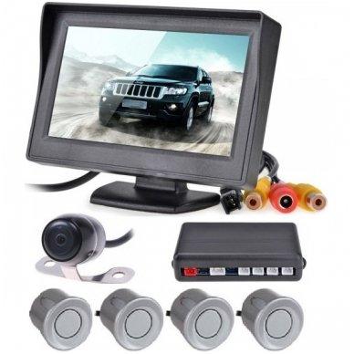 """Kameros ir LCD monitoriaus parkavimosi sistema 4-ių pilkų jutiklių """"EAGLE"""", garsinis Bi-Bii signalas"""