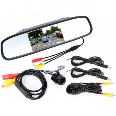 """Kameros ir LCD monitoriaus veidrodėlyje parkavimo sistema 4-ių juodos spalvos jutiklių """"EAGLE"""", garsinis Bi-Bii signalas 2"""
