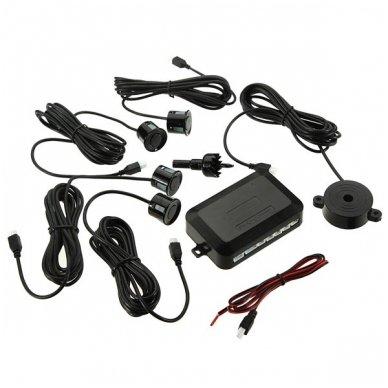 """Kameros ir LCD monitoriaus veidrodėlyje parkavimo sistema 4-ių juodos spalvos jutiklių """"EAGLE"""", garsinis Bi-Bii signalas 3"""