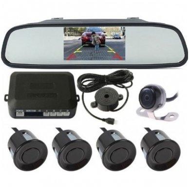 """Kameros ir LCD monitoriaus veidrodėlyje parkavimo sistema 4-ių juodos spalvos jutiklių """"EAGLE"""", garsinis Bi-Bii signalas"""