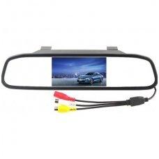 LCD 4.3 colių auto monitorius galinio matymo veidrodėlyje parkavimo sistemoms ir DVD 12V-24V