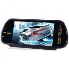 LCD 7.0 colių MP5 Bluetooth USB SD auto monitorius galinio matymo veidrodėlyje parkavimo sistemoms ir DVD 12V-24V