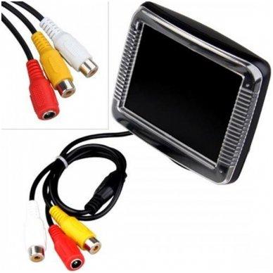 LCD 3.5 colių auto monitorius parkavimo sistemoms ir DVD 12V-24V 3