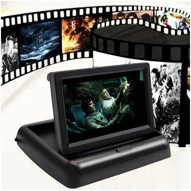 LCD 4.3 colių auto išvažiuojantis monitorius parkavimo sistemoms ir DVD 12V