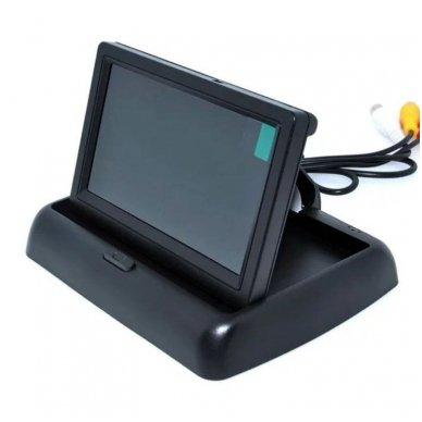 LCD 4.3 colių auto išvažiuojantis monitorius parkavimo sistemoms ir DVD 12V 9