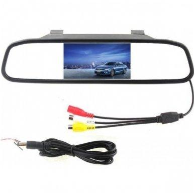 LCD 4.3 colių auto monitorius galinio matymo veidrodėlyje parkavimo sistemoms ir DVD 12V-24V 2