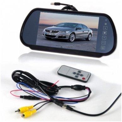 LCD 7.0 colių auto monitorius galinio matymo veidrodėlyje parkavimo sistemoms ir DVD 12V-24V 2