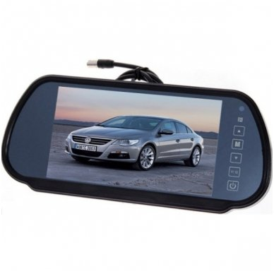 LCD 7.0 colių auto monitorius galinio matymo veidrodėlyje parkavimo sistemoms ir DVD 12V-24V 3