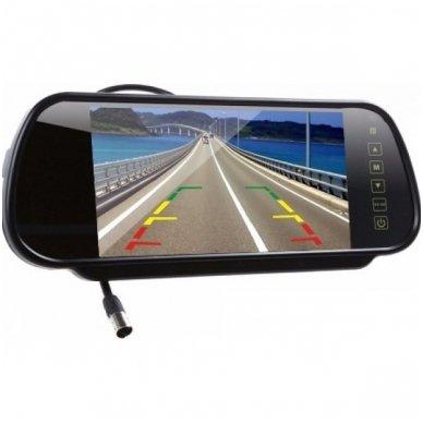 LCD 7.0 colių auto monitorius galinio matymo veidrodėlyje parkavimo sistemoms ir DVD 12V-24V 4