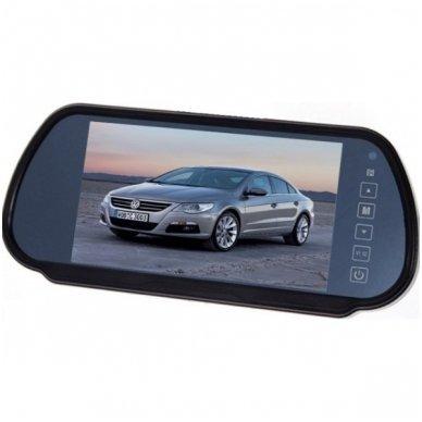 LCD 7.0 colių auto monitorius galinio matymo veidrodėlyje parkavimo sistemoms ir DVD 12V-24V