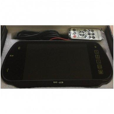 LCD 7.0 colių MP5 Bluetooth USB SD auto monitorius galinio matymo veidrodėlyje parkavimo sistemoms ir DVD 12V-24V 2